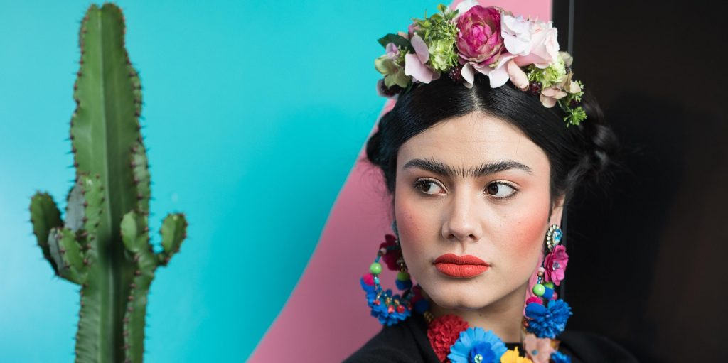 Frida Kahlo with colourful Make-up on