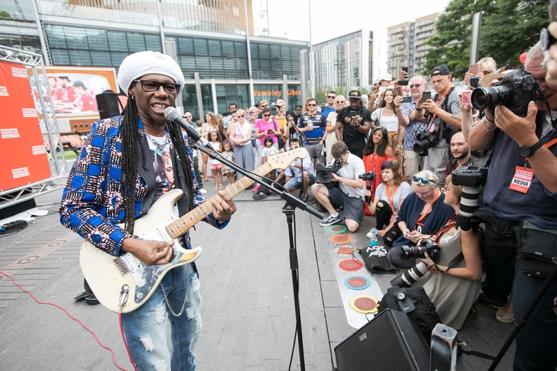 Nile Rodgers playing guitar live