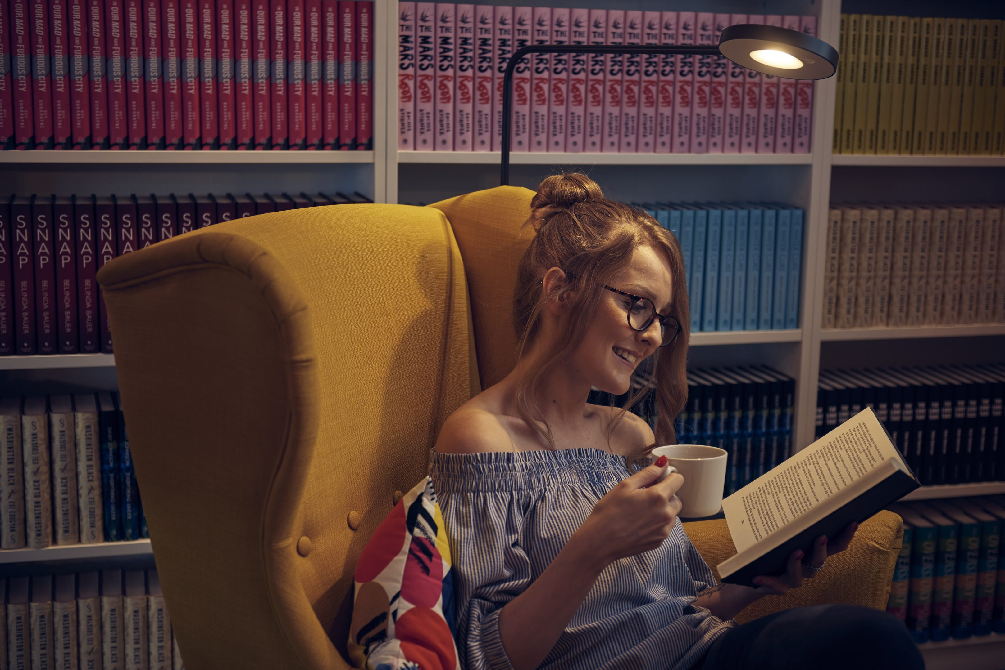 Lady Reading for Relaxation with IKEA