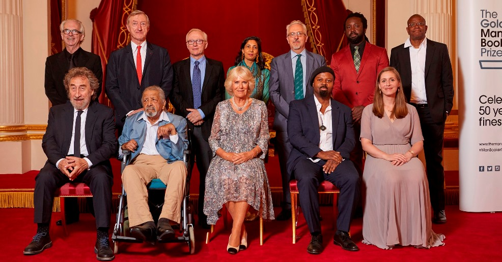 Man Booker 50th anniversary reception at Buckingham Palace featuring Luke Ellis, CEO of Man Group; Peter Carey; Julian Barnes; David Grossman; Kiran Desai; Alan Hollinghurst; Gaby Wood, Literary Director of Booker Prize Foundation; Marlon James; Paul Beatty; Howard Jacobson; V S Naipaul; HRH The Duchess of Cornwall; Ben Okri; Eleanor Catton; Baroness Helena Kennedy, Chair of Booker Prize Foundation