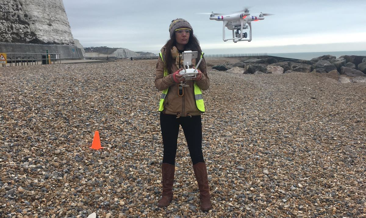 Girl flying drone on British beach as part of Four's behaviour change campaign for British Science Week 2018