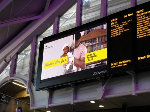Shared Parental Leave creative campaign at London Kings Cross station