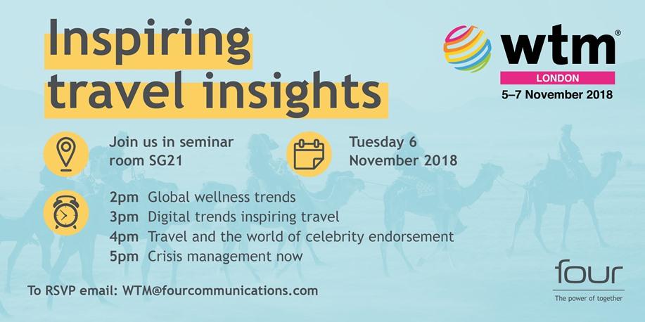WTM Inspiring travel insights programme stating timetable for seminars