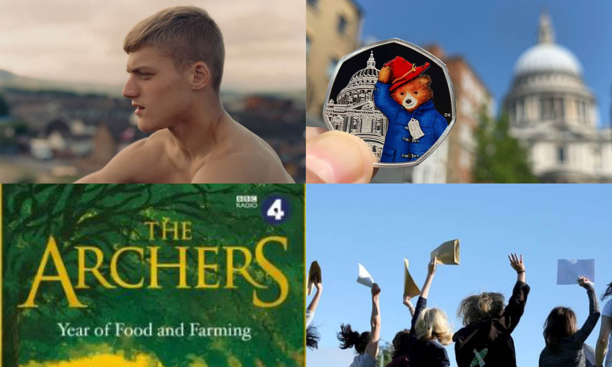Four images - (1) Topless man on hill, (2) Paddington Bear commemorative coin in front of St. Paul's, (3) The Archers, (4) People waving and holding up papers