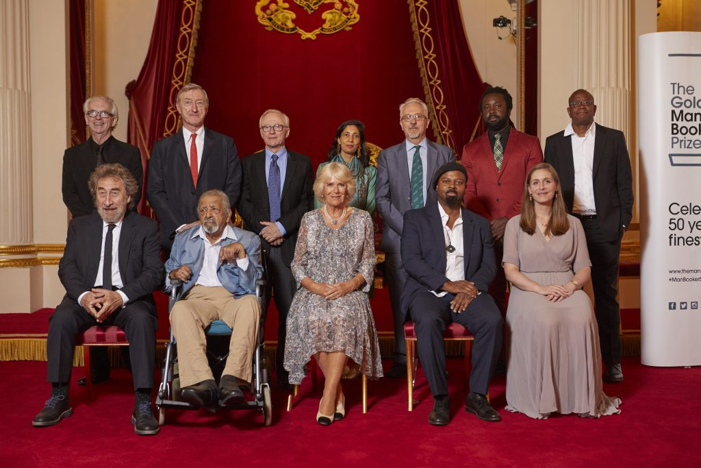 Winners and HRH Camilla, Duchess of Cornwall at Buckingham Palace for Man Booker 50