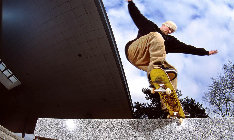 Milton Keynes man on skateboard