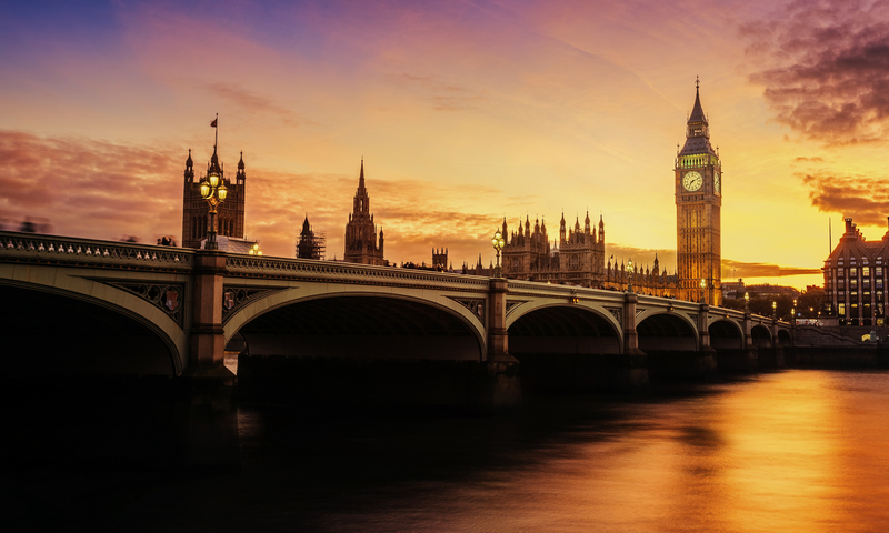 Westminster bridge sunset